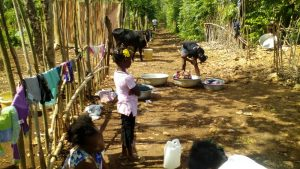 In Haiti, people are often forced to wash with unsafe water.